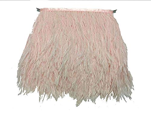 ADAMAI Natural Ostrich Feathers Trims Fringe DIY Dress Sewing Crafts Costumes Decoration Pack of 2 Yards (Pale-Pink)