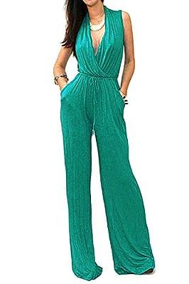 Vivicastle Women's Sexy Wrap Top Wide Leg Long Sleeve Cocktail Knit Jumpsuit