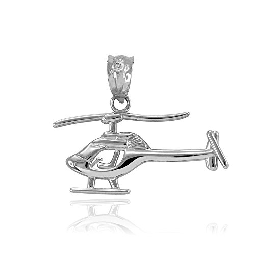 Space and Aviation High Polish 925 Sterling Silver Aircraft Helicopter Charm Pendant