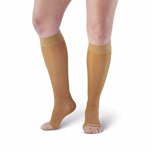 Knee High Open Toe Heels (Ames Walker Women's AW Style 41 Sheer Support Open Toe Compression Knee High Stockings - 15-20 mmHg Beige Medium 41-M-BEIGE Nylon/Spandex )