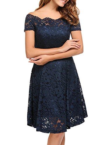 ACEVOG Women Vintage Lace Short Sleeve Floral Off Shoulder Cocktail Formal Swing Dress,Dark (Floral Cocktail)