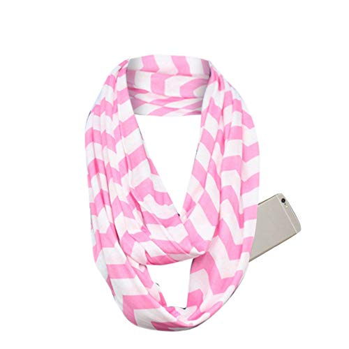 Suma-ma Clearance Anti-Theft Pocket Scarves for Women - Stripe Infinity Travel Scarf