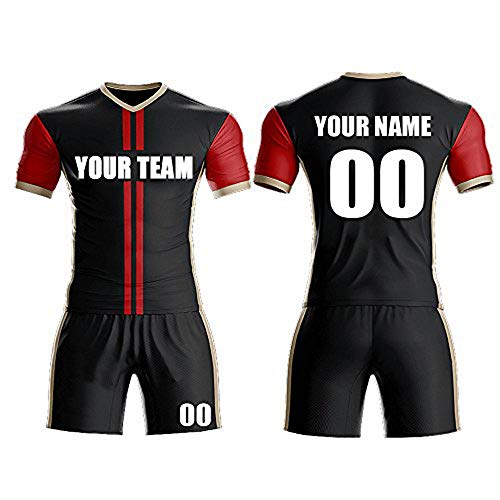 (Custom Sport Jerseys - Make Your Own Soccer Jersey Set - Personalized Team Uniforms (Black-red, M))