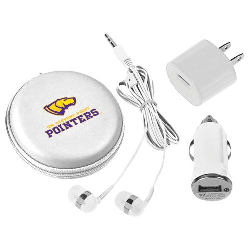 UW Stevens Point 3 in 1 White Audio Travel Kit 'Official Logo' by CollegeFanGear