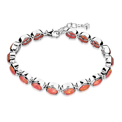 (Paul Wright Created Pink Opal Bracelet in 925 Sterling Silver, 17 Oval Opal Links, with Vibrant Coral Pink Color, 7