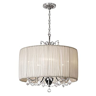 "Crystal Pendant Light in Oyster Pleated Fabric Cylinder Drum Shade,Home Ceiling Light Fixture,Chandeliers Lighting for Bedroom, Living Room (20"" inches , Cream /White Color)"
