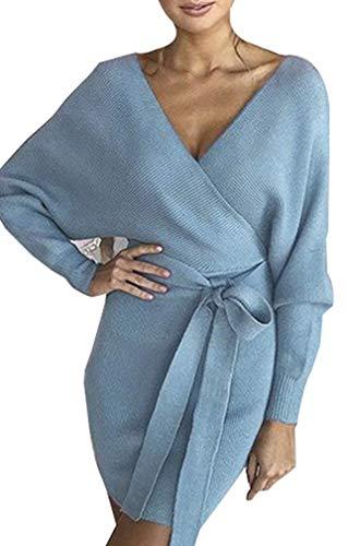 Socluer Femme Mini Robe Pull Tricot Fourreau Elégant Robe de Chambre Tricoté Col V Croisé Sexy Robe Crayon avec Ceinture