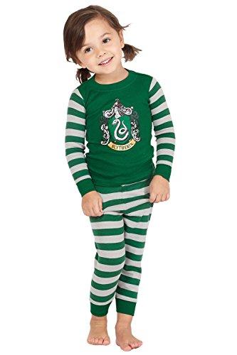 Harry Potter Slytherin House Crest Cotton Baby Pajama Gift Set, Slytherin, 24MO Green