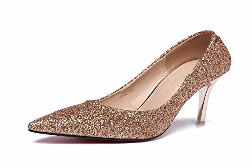 Ttes Printemps Talons Femme neuf Sequins Avec Et 9cm Hauts Chaussures Automne golden Pointu Trente Kphy v1IYw