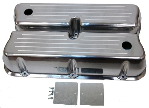 - 1962-85 Ford Small Block 289-302-351W-5.0L Tall Polished Aluminum Valve Covers - Ball Milled