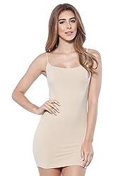 Alexander David A D Womens Basic Extra Long Sexy Seamless Cami Slip Tank Dress Stone One Size