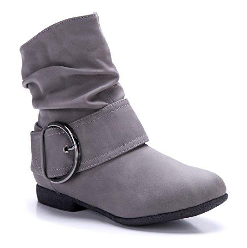 Schuhtempel24 Damen Schuhe Flache Stiefeletten Stiefel Boots Flach Schnalle 2 cm Grau
