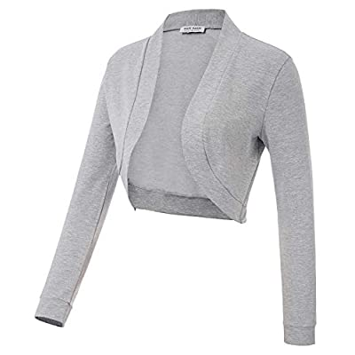 Kate Kasin Women Vintage Open Front Cropped Bolero Shrug Cardigan Cape with Long Sleeve S-XXL at Women's Clothing store