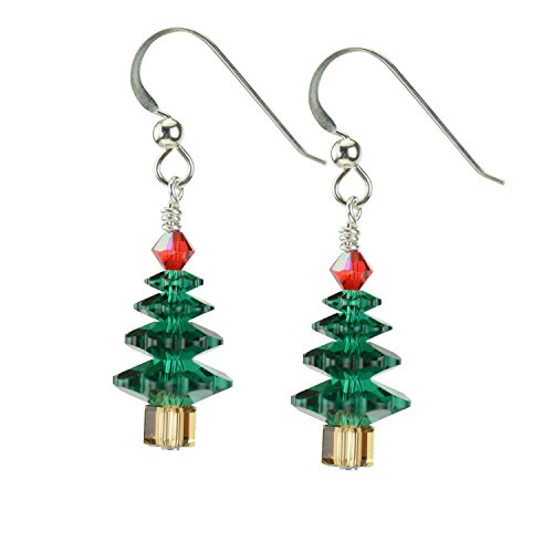 Swarovski Crystal Emerald Christmas Tree Earrings with Sterling Silver French wires Wire Christmas Tree Earrings