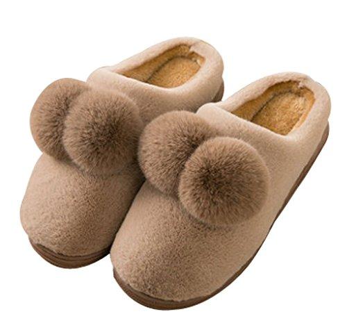 Cattior Donna Pompon Corallo Caldo Soffici Pantofole Casa Indoor Signore Pantofole Caffè