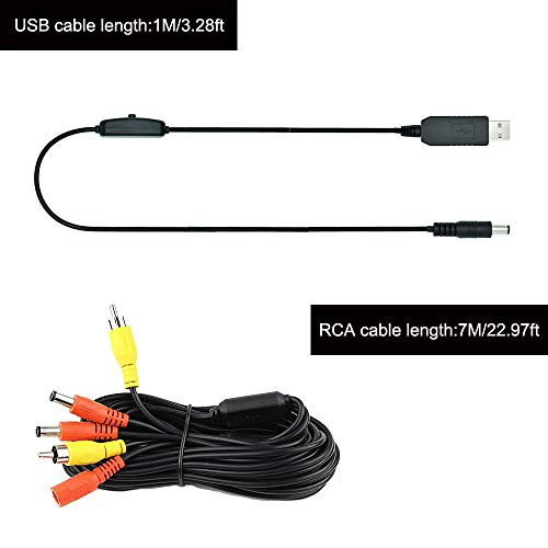 rearmaster 12v usb power supply kit for car rear view camera and monitor  with rca connection