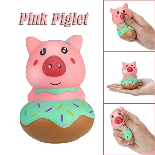 Stress Reliever Toys Soft Cute Elastic Pink Piglet Squeeze Cream Scented Slow Rising Decompression Toys for Christmas Collection Gift, Decorative Props (Pink) -
