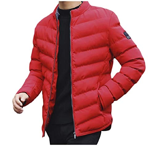 Skinny Casual Outerwear Howme Red Solid Men Overcoat Winter Warm Zip Up qUpZwI6