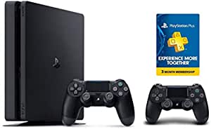 Sony Playstation 1Tb Slim Extra Controller 3 Month Playstation Plus Voucher, Black