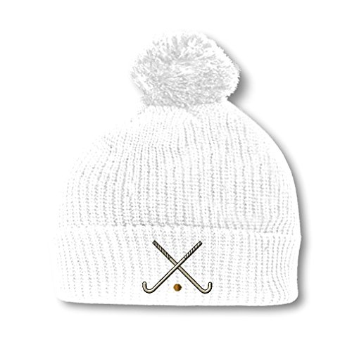 Field Hockey Embroidery Embroidered Pom Pom Beanie Skully Hat Cap White