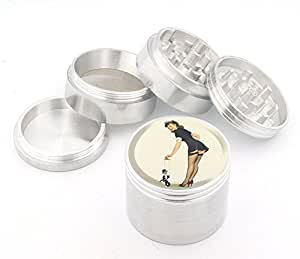 Vintage Pin Up Girl Design Medium Size 4pcs Aluminum Herbal or Tobacco Grinder # G50-92415-26