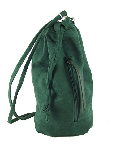LONI Backpack Handbag Drawstring Faux Suede Bottle Forest Green