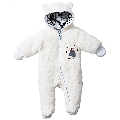 LJ Unisex-Baby Footed Snowsuit Romper White for 9-12month