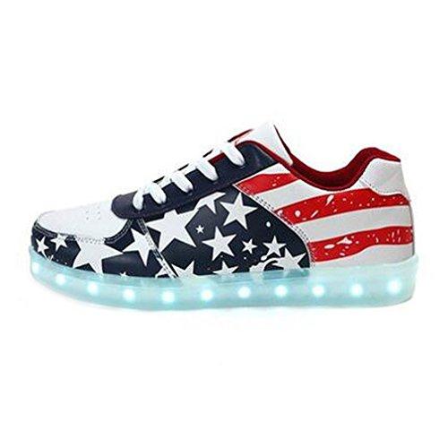 (Present:kleines Handtuch)JUNGLEST® Damen Herren LED Leuchtet Sneaker Fashion Sport Outdoor Schuhe T Rot