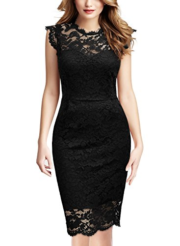 Miusol Women's Retro Floral Lace Slim Evening Cocktail Mini Dress (X-Large, Black)