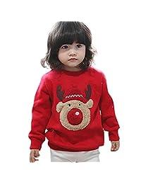 Dumanfs Toddler Baby Christmas Deer Sweatshirt, Boy Girl Tops Sweater Blouse