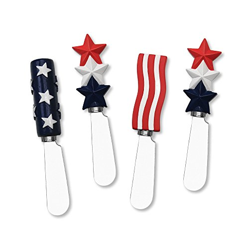 Mr. Spreader 4-Piece American Flag Resin Cheese Spreader, Assorted (Piece 4 Spreader)