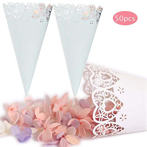 (Velidy Wedding Petal Cones Paper Wedding Confetti Cones Candy Boxes for Petals, Lavender, Rice, Confetti or Other toss Gift Box (White))