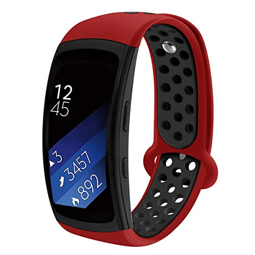 (Compatible Samsung Gear Fit2 /Fit2 Pro Band,Soft Silicone Replacement Strap Sport Band Bracelet Wristband Samsung Fit2 SM-R360 /Fit 2 Pro SM-R365 SmartWatch Fitness (newRed-Black))