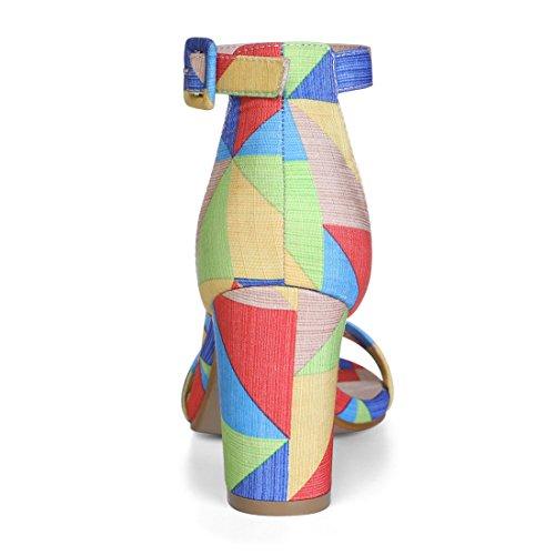 Allegra K Women's Printed Ankle Strap Sandals Multi-color n9TUmrUm