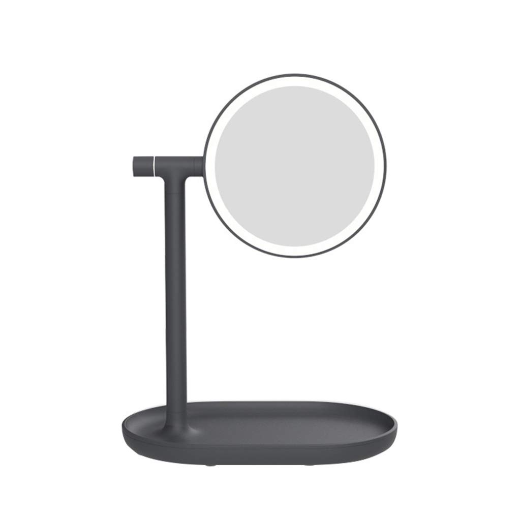 化粧鏡 LED 照明、両面ミラー、HD フラットミラー、3xMagnifying バニティミラー、カウンタートップバニティミラー,Black  Black B07S5QDJZT