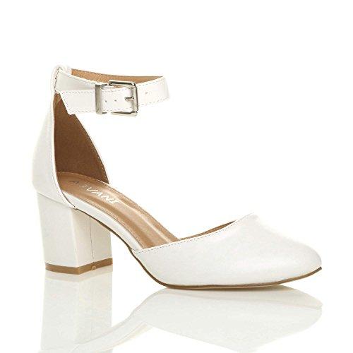 Ajvani Womens Ladies Low mid Block Heel Ankle Strap Mary Jane Court Shoes Sandals Size White Matte CeAbfboGa