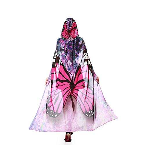 Dora Bridal Women Halloween Cape Wrap Costume Hood Chiffon Butterfly Cosplay Outfit Fuchsia -