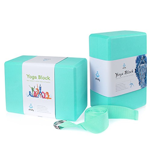 ULTRAFY Yoga Blocks Bricks, Non-toxic, Odorless, Water-Resistant, Support Bricks with Exercise Strap for Better Positions Stretching Yogi Accessories (4×6×9 Inch, Tiffany - Tiffanys Uk