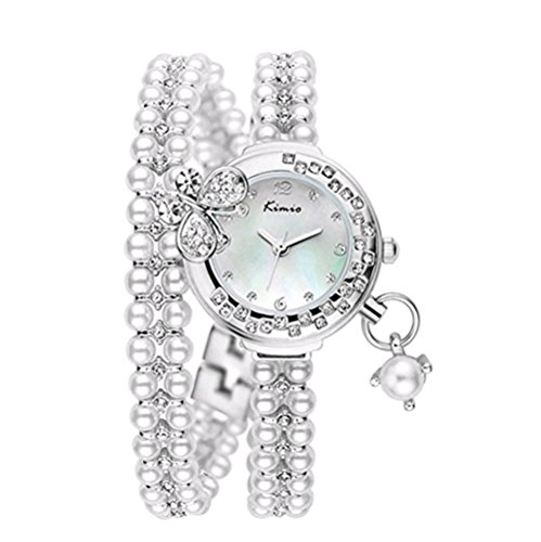 - Tidoo Lady's Wristwatch, Charming Bangle Bracelet Watch White Silver Plated Pearls with a 3D Butterfly on It