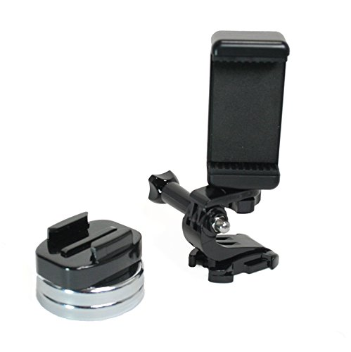 Chrome Plated Grid (Action Mount | Chrome Plated Magnetic Camera & Phone Mount w/Quick Clip for Sports Camera, or Phone. Great for Video, Pictures, Livestreaming, or WOD. (Lg. Clip Magnet))