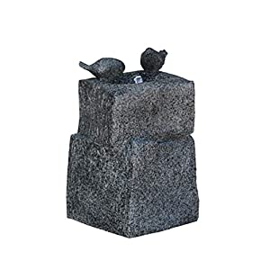 Cast Stone Fountain with LED Lights and Two Birds Playing Low Splash Design for Garden/Patio/Balcony/Lawn Decor Pump…