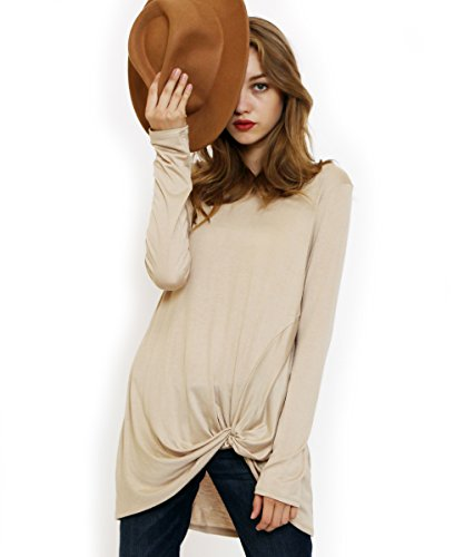 Preppy Doll Made in USA Womens Solid and Print Casual Soft Long Sleeve Side Knot Twist Knit Blouse Top