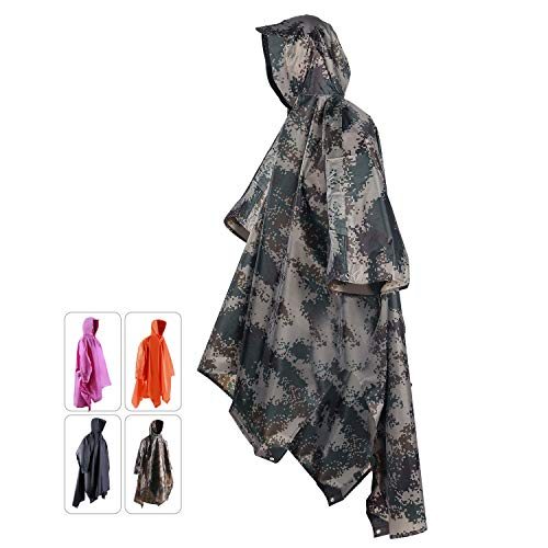 - REDCAMP Outdoor Rain Poncho with Hood for Men & Women, Waterproof Camouflage Poncho for Camping, Hiking and Travel, 3 in 1 Multifunctional Raincoat Military