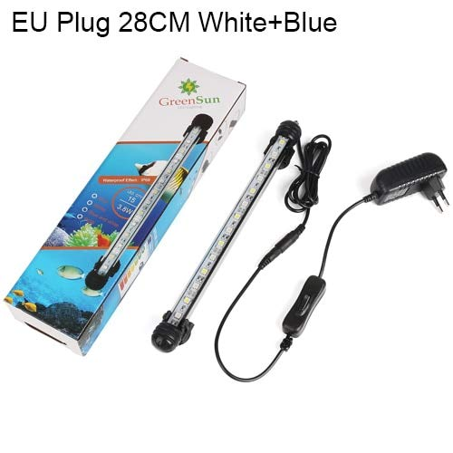 White with bluee 28cm Pukido Aquarium Light Fish Tank LED Lighting Waterproof Submersible Bar Tube Clip Lamp Aquariums Decor Accessories bluee White (color  White with bluee 28cm)