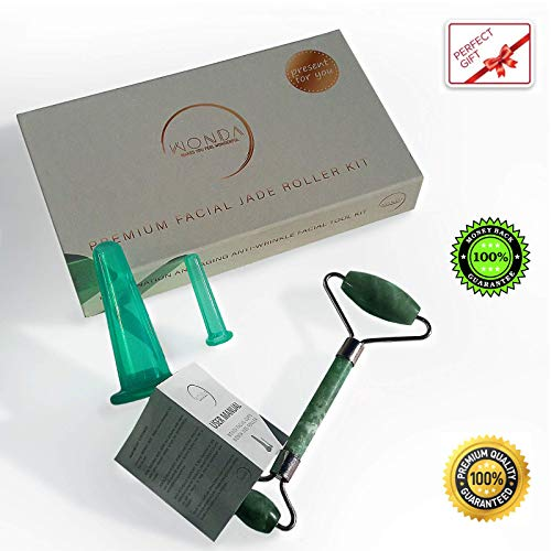 Anti Aging WONDA Jade Roller Kit Anti Wrinkle and Skin Rejuvenate Relieve Fatigue Stress and Puffiness + Facial Silicone Cupping Therapy Face & Eye Suction Cups Gift Pack