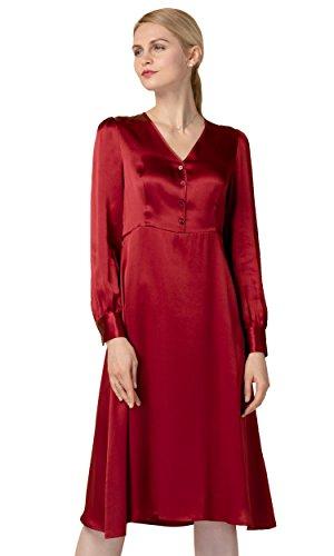 LilySilk Silk Dresses For Women Long Sleeve Pure 22MM Velvet Retro Inspired Vintage Tunic Claret (Silk Charmeuse Tunic Top)
