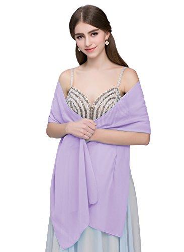 Kileyi Women's Soft Chiffon Shawl Wrap Scarf for Wedding Evening Formal Dresses Lavender 75
