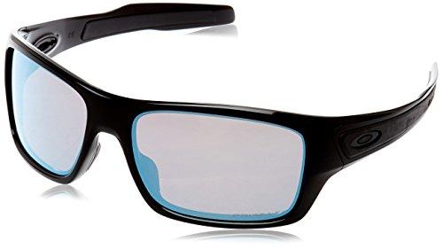 (Oakley Men's Turbine Polarized Iridium Rectangular Sunglasses Polished Black 65.0 mm)
