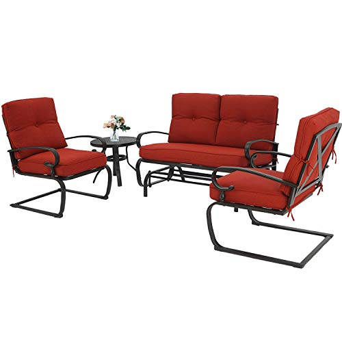 Incbruce 4Pcs Outdoor Patio Furniture Conversation Sets (Loveseat, Bistro Table, 2 Spring Chair) – Swing Glider Rocking Patio Bench and Spring Metal Lounge Chairs Sets with Cushions (Red)
