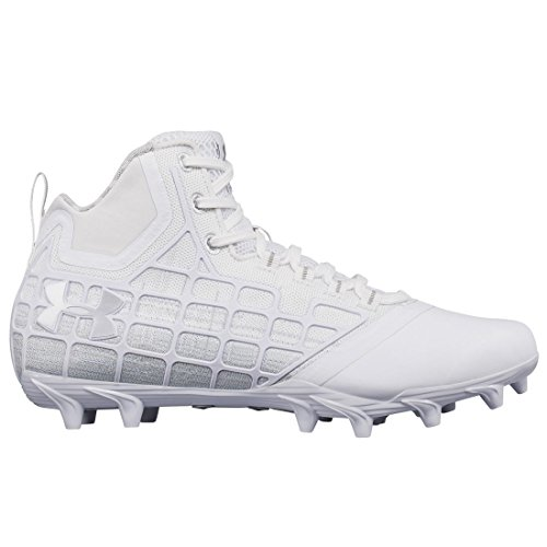 Under Armour Banshee Mid Mc Lacrosse Cleat - Blanco / Plata Metálica-